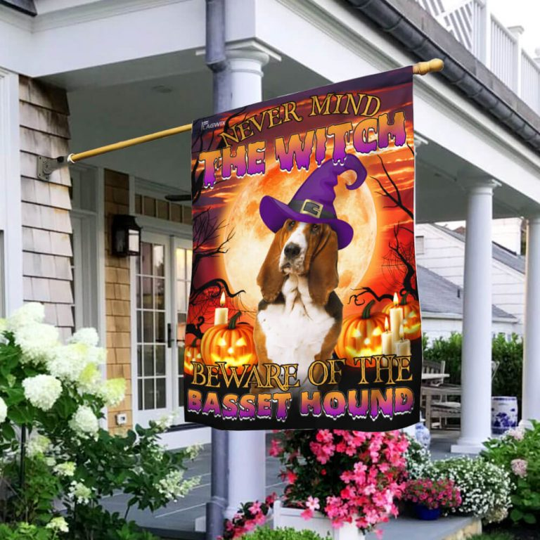 Never mind the witch beware of the basset hound Halloween flag 1