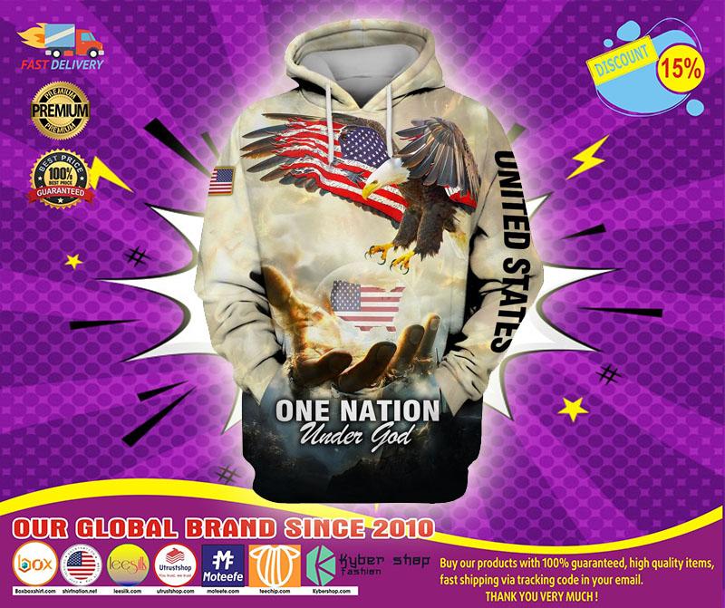 One nation eagle under god 3D over print hoodie