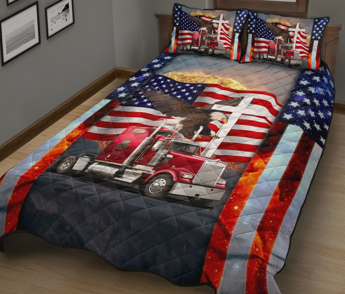 One nation truck quilt bedding set