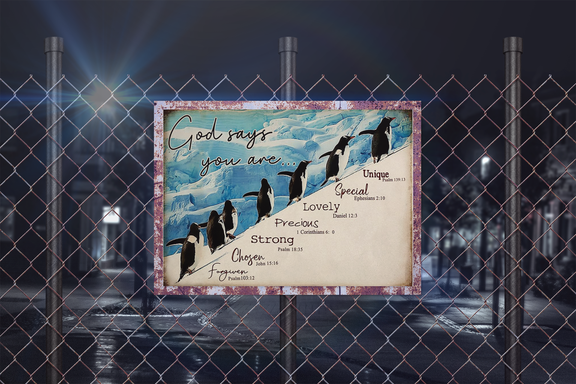 Penguins god says you are unique special poster10