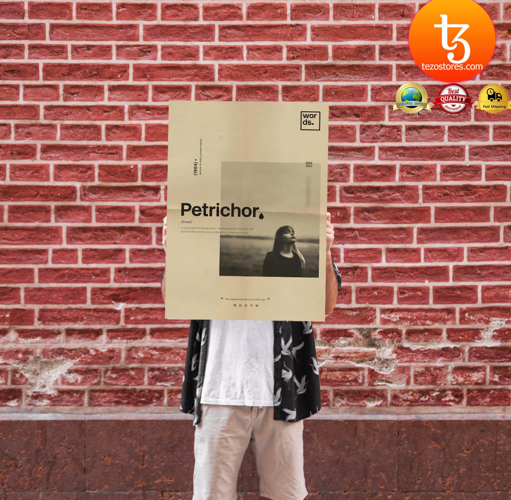 Petrichor constructed from Greek petra meaning stone and ichor poster 1