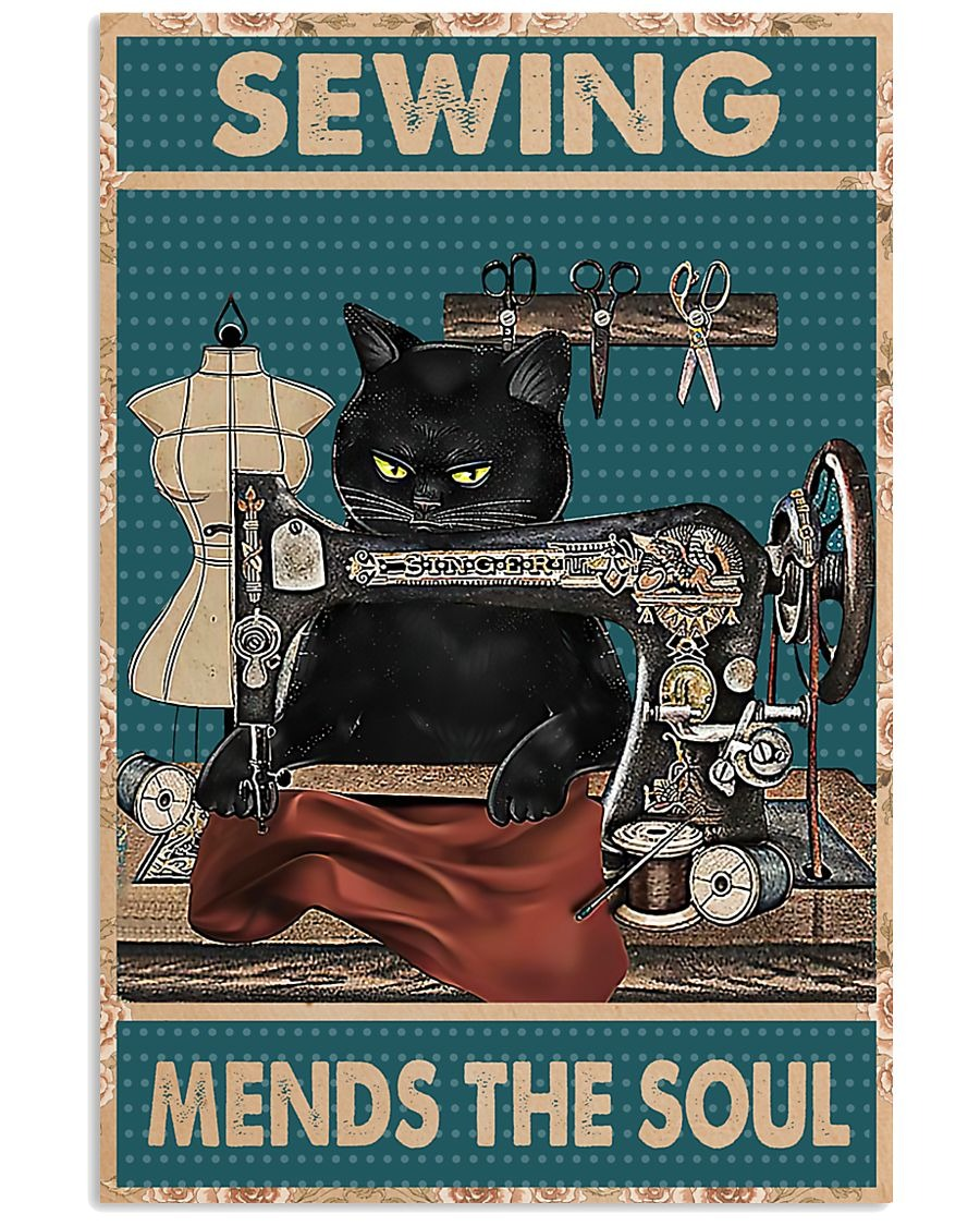 Poster Cat sewing mends the soul