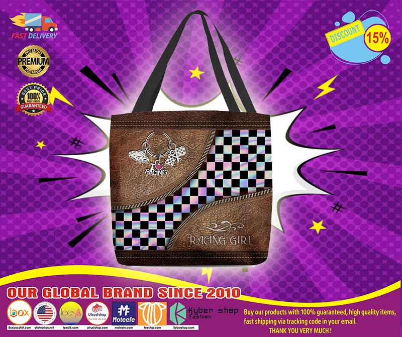 Racing girl leather tote bag