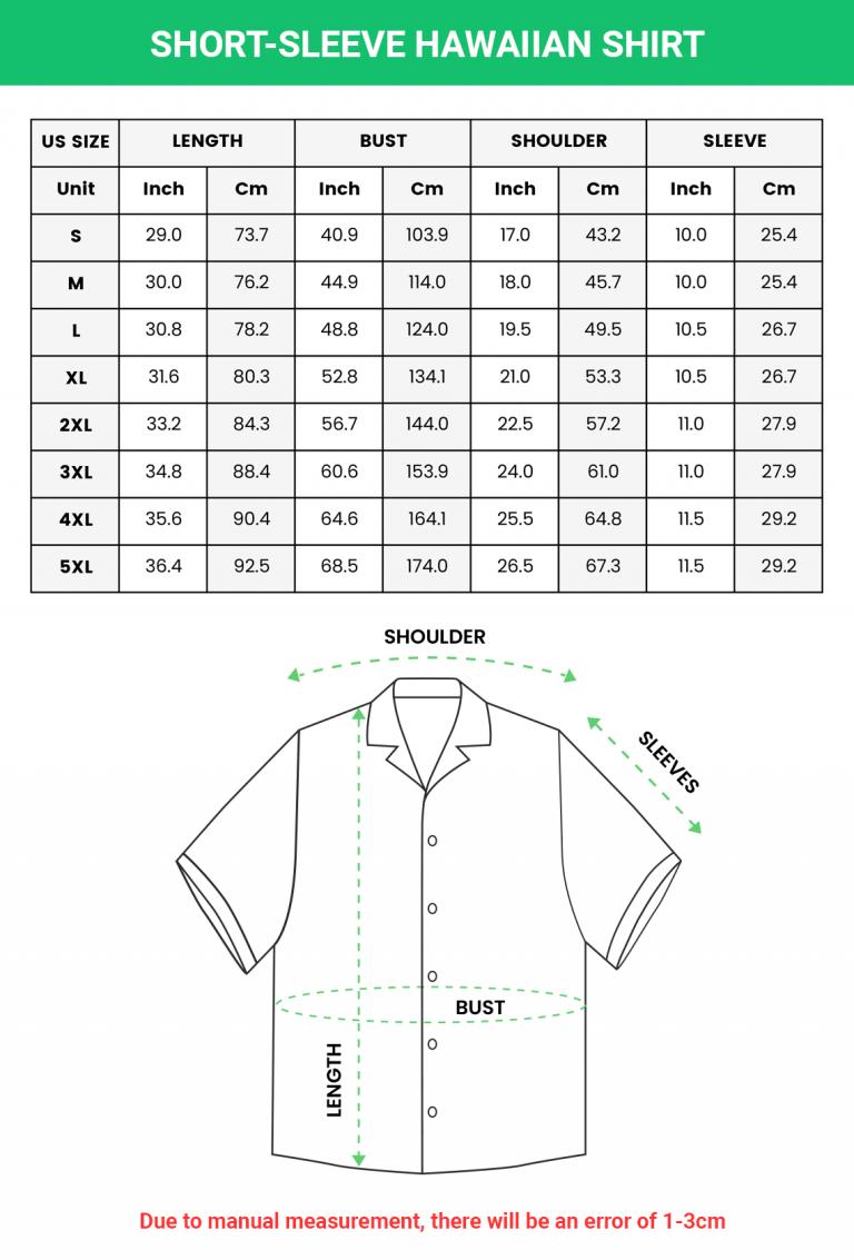 Short sleeve Hawaiian Shirt Sizechart