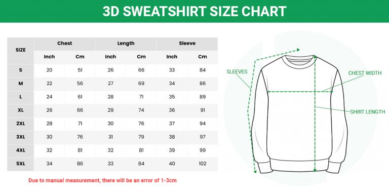 Size chart Sweatshirt3D 1