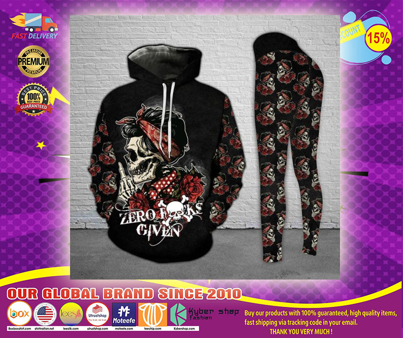 Skull and Rose zero fucks given 3D hoodie and legging