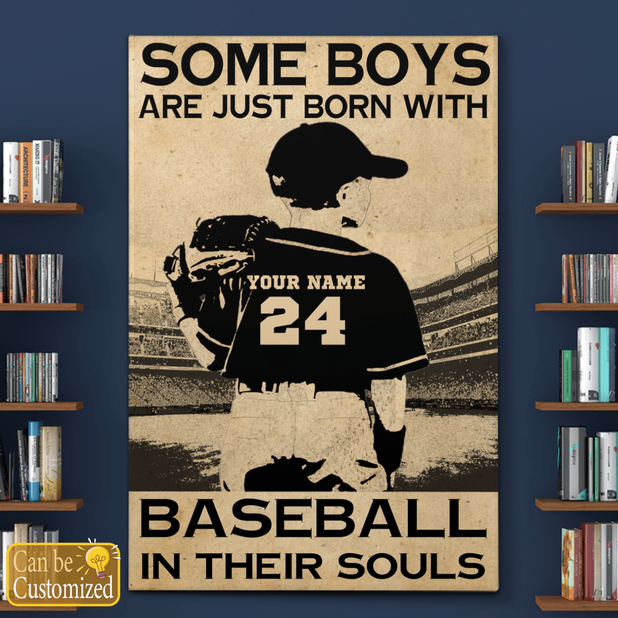 Some boys are just born with baseball in their souls custom name and number canvas