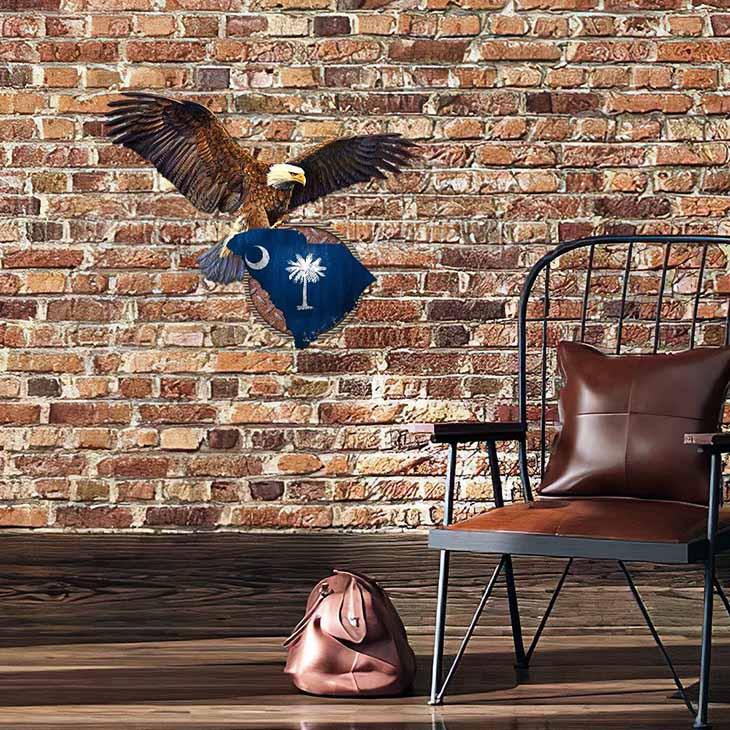 South Carolina Eagle Flag Metal Sign2