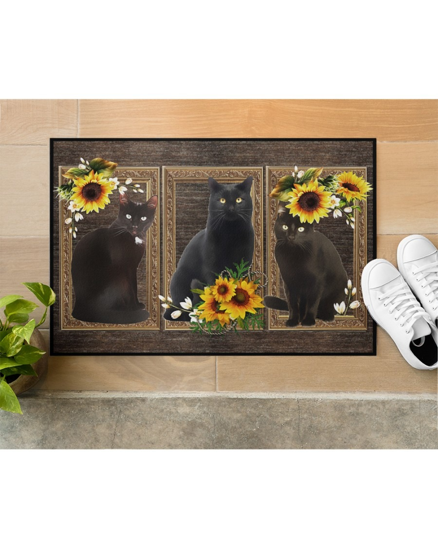 Sunflower black cat doormat