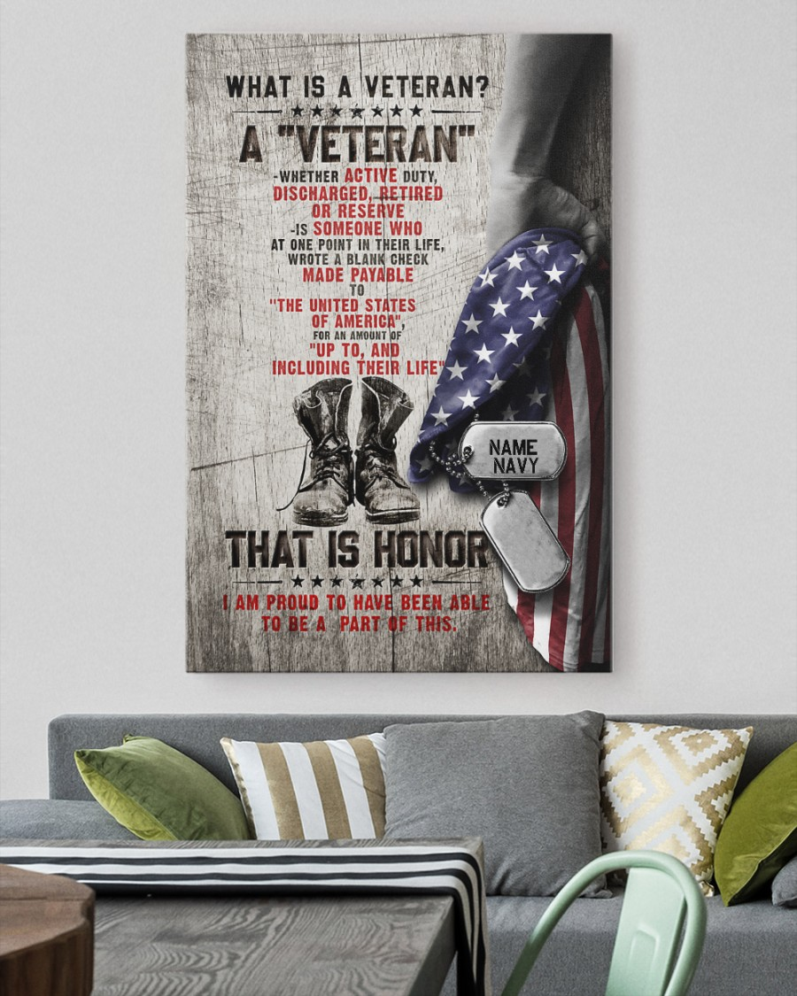 What is a Veteran that is honnor custom name canvas