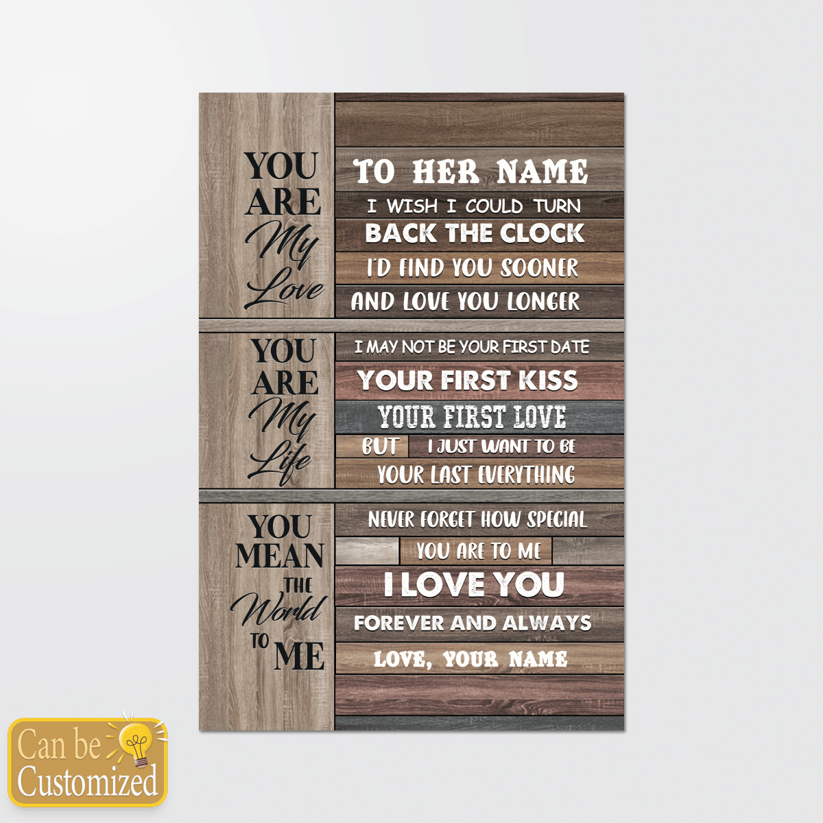 Youre my love youre my life you mean the world to me custom name poster and canvas 2