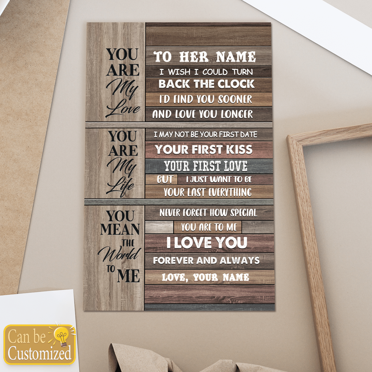 Youre my love youre my life you mean the world to me custom name poster and canvas 3