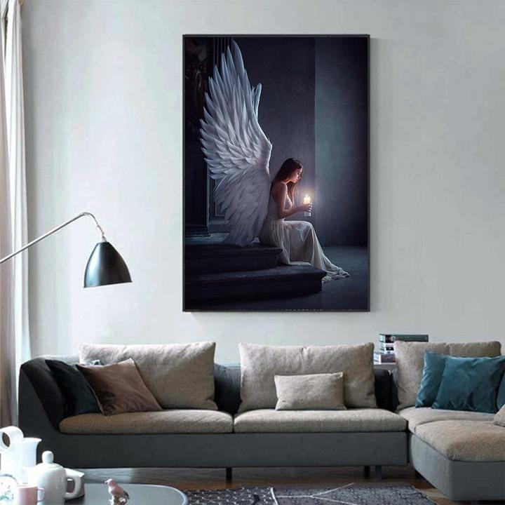 Angel and candle canvas 2