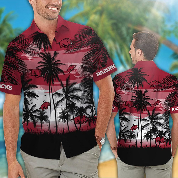 Arkansas Razorbacks Tropical Hawaiian Shirt Short