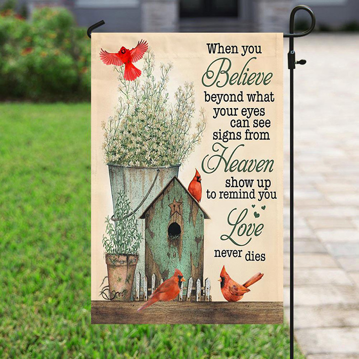 Birds And Roses A Big Piece Of My Heart Lives In Heaven Flag4
