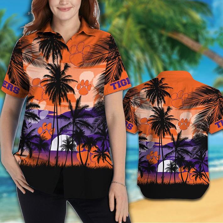 Clemson Tigers Tropical Hawaiian Shirt Short1