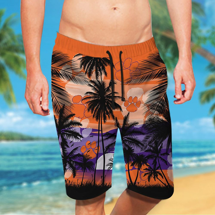 Clemson Tigers Tropical Hawaiian Shirt Short3