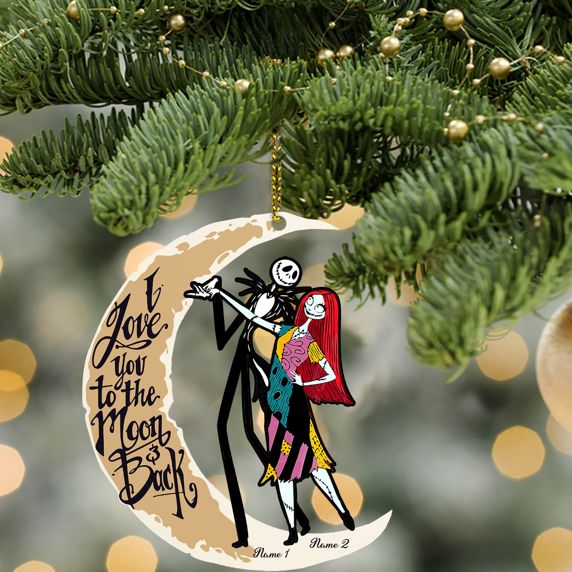 Jack skellington Sally moon I Love You To The Moon And Back custom personalized ornament 2