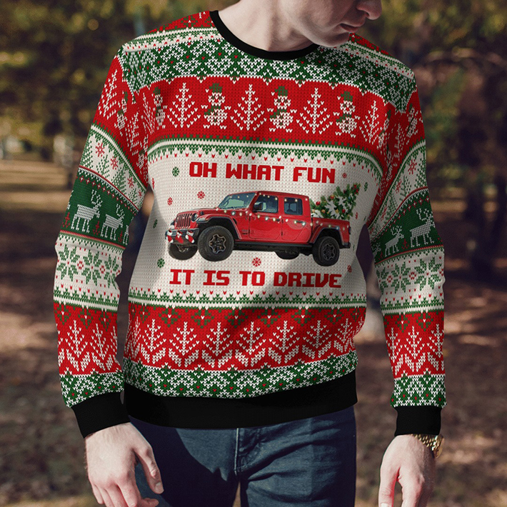 Jeep Red Oh What Fun It Is To Drive Ugly Christmas Sweater2