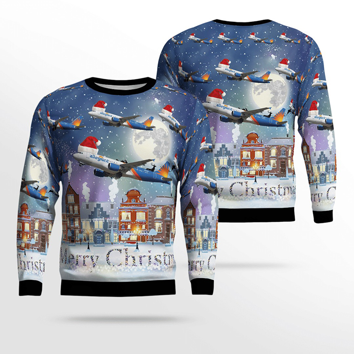 Merry Christmas Allegiant Air Airbus A320 214 Ugly Christmas Sweater