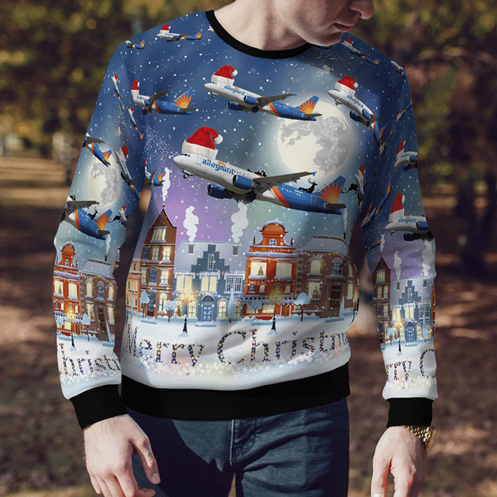 Merry Christmas Allegiant Air Airbus A320-214 Ugly Christmas Sweater