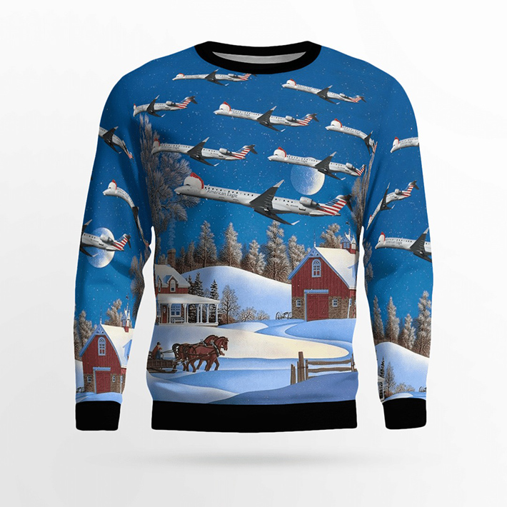 Psa Airlines Bombardier CRJ900 Ugly Christmas Sweater1