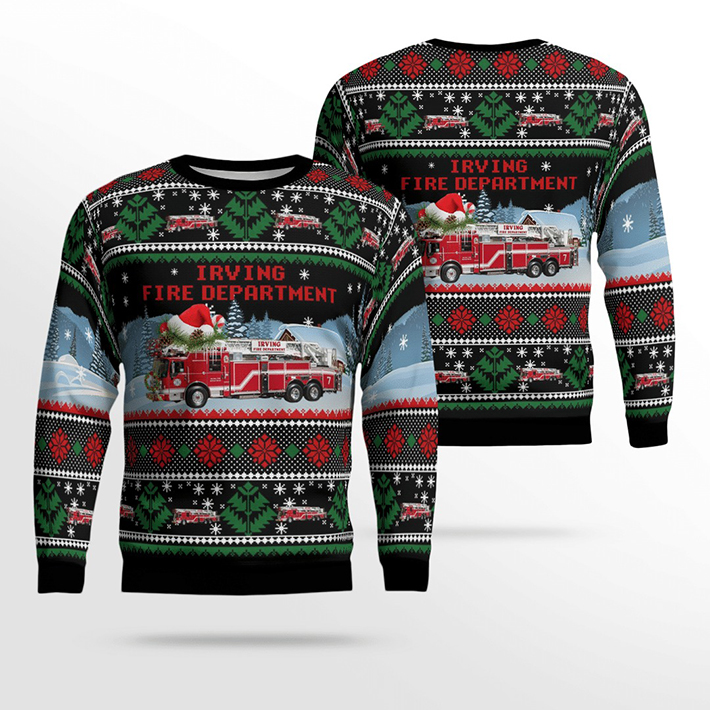 Texas Irving Fire Department Ugly Christmas Sweater