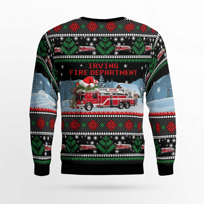 Texas Irving Fire Department Ugly Christmas Sweater2