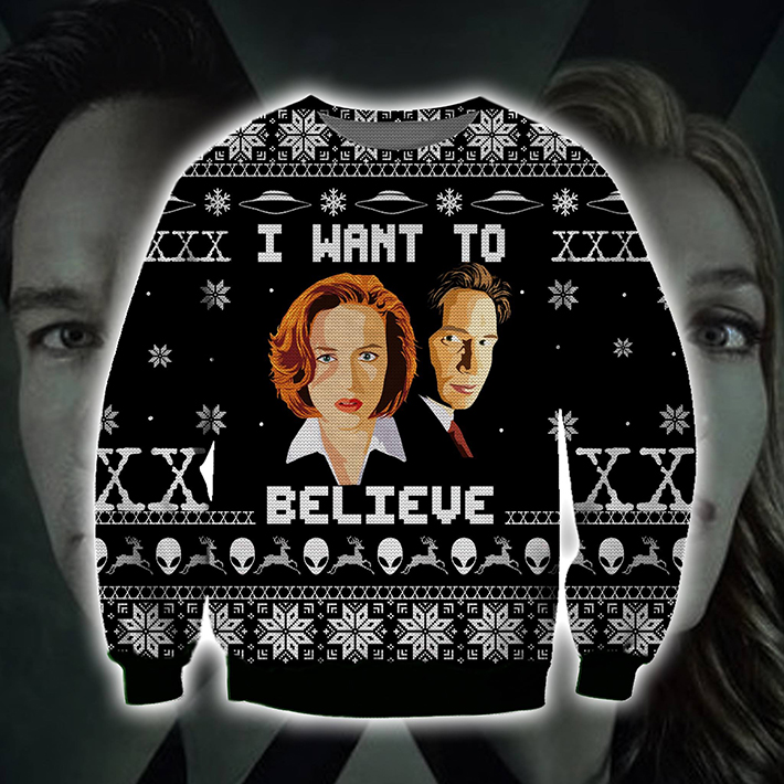 The X files I Want To Believe Ugly Christmas Sweater