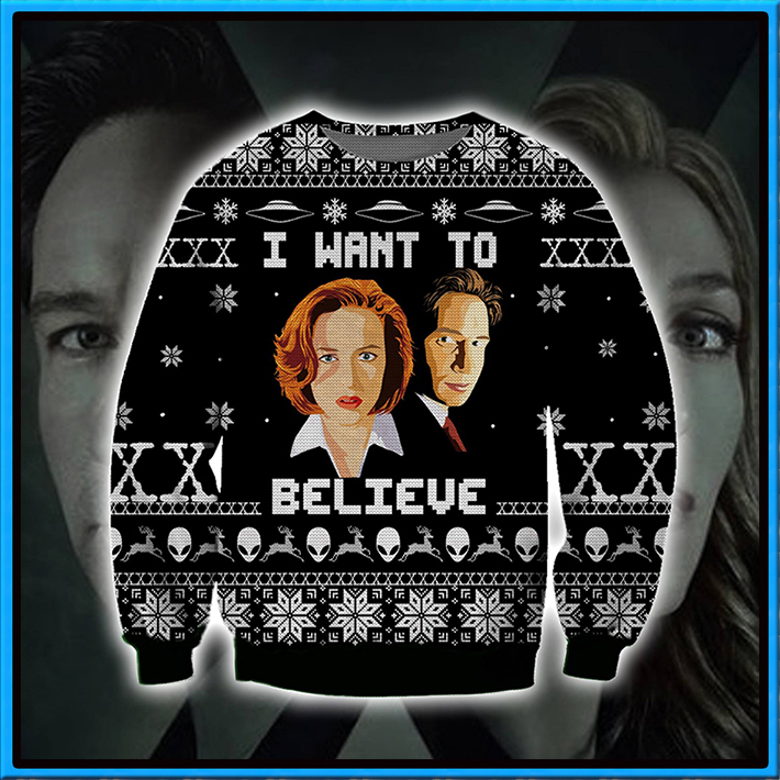 The X files I Want To Believe Ugly Christmas Sweater3