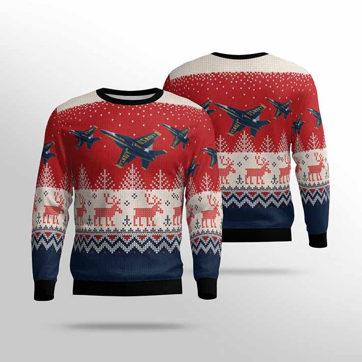 US Navy Blue Angels Ugly Christmas Sweater