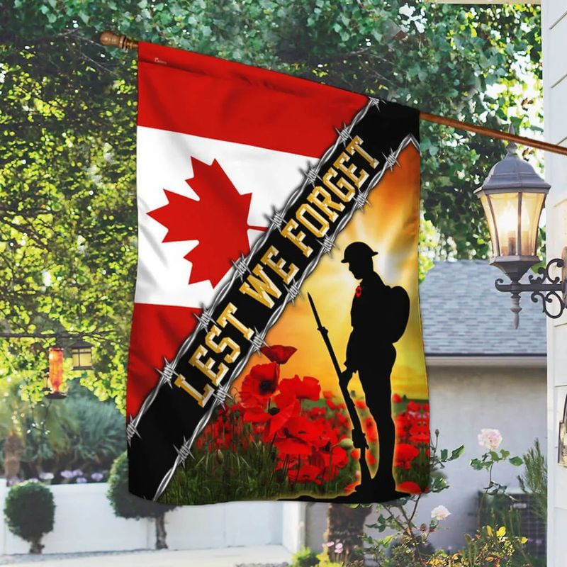 Remembrance Day Poppy Lest We Forget Canada Veteran Flag 2